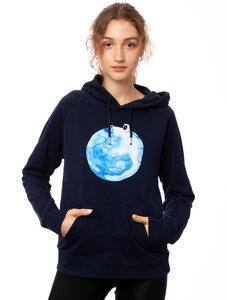 FellHerz Damen Hoodie Moon Girl navy, Bio Fair und Vegan - FellHerz