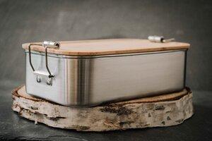 Edelstahl Lunchbox mit Bambusdeckel und Dichtungsring - tindobo