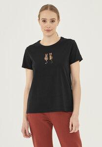 T-Shirt aus Bio-Baumwolle mit Katzen-Stickerei - ORGANICATION