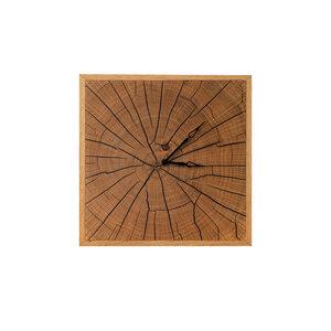 Wanduhr Holz Eiche mit geräuscharmem Quarzwerk Massivholz, Handarbeit - GreenHaus