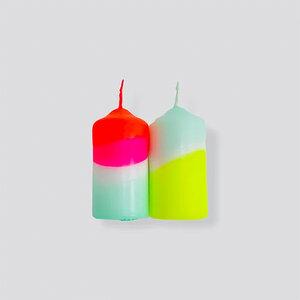 DIP DYE NEON Stumpenkerzen als 2er Set - 50 x 100 mm - pinkstories