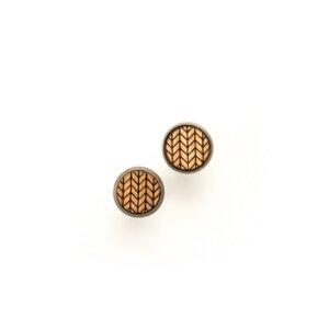 Ohrstecker aus Holz mit Fischgrät Gravur –  - JUNGHOLZ Design