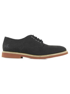 Faux Suede Derbys Black - WILLS LONDON