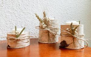 3 Set Birken- Teelichthalter mit Trockenblumen - b.y.r.d.