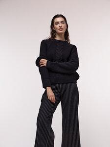 Pullover mit Zopfmuster aus Bio-Schurwolle und Bio-Baumwolle - LANIUS