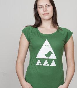Bamboo Raglan Shirt Women Leaf Green 'Achtung Birdy' - SILBERFISCHER