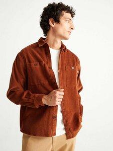 Corduroy Bes Overshirt clay red - thinking mu