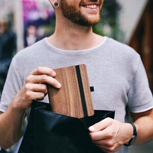 """Buch aus Holz """"WoodBook"""", in A6, A5 oder A4, Eiche, Walnuss, Padouk - JUNGHOLZ Design"""