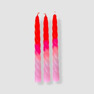 DIP DYE TWISTED Stabkerzen als 3er Set - 230 x 23 mm - pinkstories