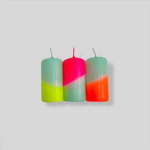DIP DYE NEON Stumpenkerzen als 3er Set - 80 x 40 mm - pinkstories