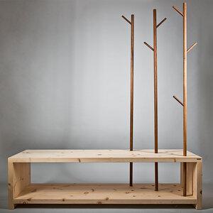 Garderobe im Cross Country Style aus Zirbenholz 150x50x45 cm - 4betterdays