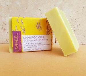 Shampoo Cube - Festes Bio-Shampoo Lavendel  für strapaziertes & brüchiges Haar - Küstenseifen Manufaktur
