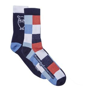Tennis Check Sock 2er Pack - Total Eclipse - KnowledgeCotton Apparel