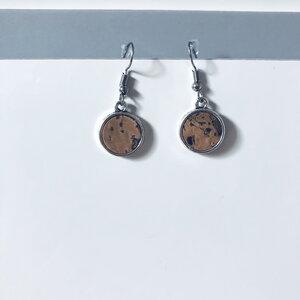 Korkohrhänger Ohrring mit buntem Korkeinsatz 12 mm - Living in Kork