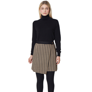 Houndstooth Asymmetric Skirt - Black - People Tree