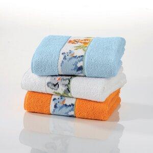 Baby und Kinder 50 x 80 cm Handtücher- Motiv Dschungel - hier als Set 3 Stück,hellblau,orange,weiss -super kuschelig und hochwertig - Feiler Germany