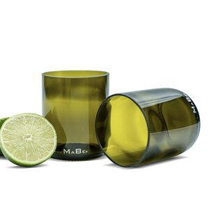 250ml Trinkglas aus der 0,7l Weinflasche in oliv - MaBe