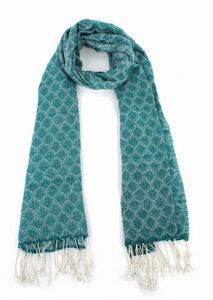 Schal, handgewebt aus 100% Wolle Farbe: petrol Größe: 50 x 180 cm - El Puente