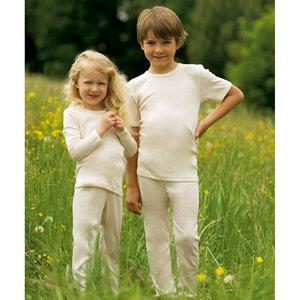 Kinder Unterhemd Langarm Schurwolle kbT - Engel natur