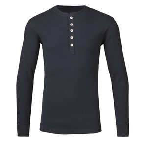 Rib Knit Henley Langarmshirt - Total Eclipse - KnowledgeCotton Apparel