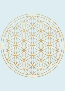 Poster Blume des Lebens, türkis und gold - Crystal and Sage