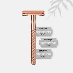 Ecoroyal Rasierhobel Damen Rosegold + 10 Rasierklingen Metallrasierer - Ecoroyal