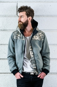 Tarnfarbene Wendejacke ANTI - SLOGAN Eco Streetwear