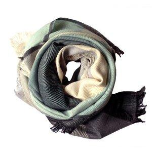 Tuch Tangram türkis beige grau - Karigar