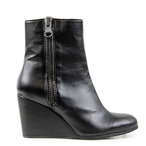 Luxe Wedge Booties Black - WILLS LONDON