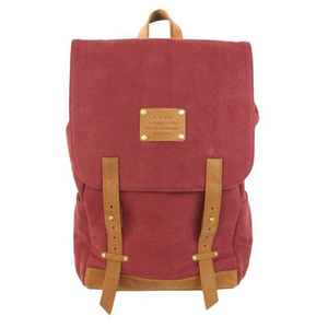 Mau's Backpack Burgundy Canvas/ Eco Camel - O MY BAG
