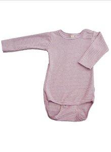Baby LA Body rosa/grau geringelt Bio Baumwolle - iobio