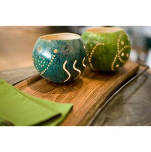 Kalebasse Teelicht, grün - Africa Design