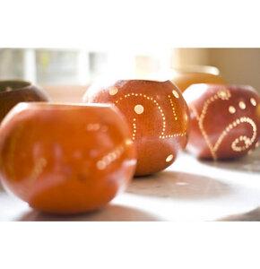 Kalebasse Teelicht, orange - Africa Design