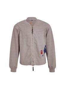 Supima Cotton Unisex French Terry Jacket with Sumie Bird - Chakura by Ku Ambiance