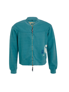 Supima Cotton Unisex French Terry Jacket with Sumie Bird - Chakura by Ku Ambiance