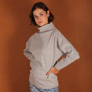 Stehkragen Pullover Dori aus einem Waffelstoff in olive, sand oder hellgrau meliert - ManduTrap