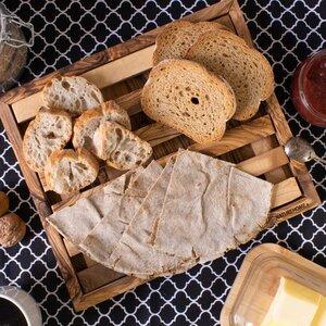 Brot-Schneidebrett Olivenholz mit Rahmen und Krümelfach - NATUREHOME