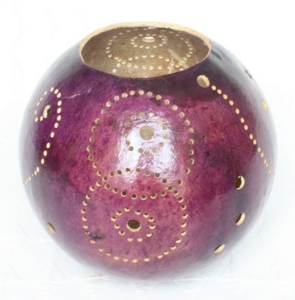 Kalebasse Teelicht, violett - Africa Design
