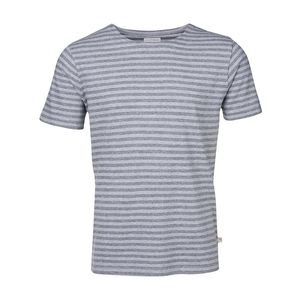 Jacquard Striped Tee - Grey Melange - KnowledgeCotton Apparel