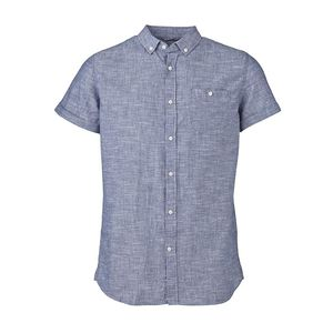 Cotton & Linen Shirt - Short Sleeves - Dark Blue - KnowledgeCotton Apparel