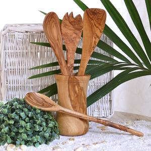 Küchen-4er-Set & Utensilienbecher aus Olivenholz - Olivenholz erleben