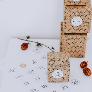 Adventskalender UNIQUE Boxen und Aufkleber Zahlen 1-24 - Fines Papeterie