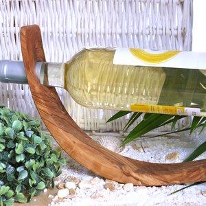 Weinflaschenhalter MOND aus Olivenholz - Olivenholz erleben