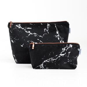 Marmor & Kupfer Kulturtasche (schwarz) - renna deluxe