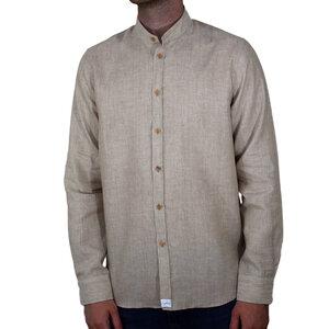 Leinenhemd mit edlen Olivenholzknöpfen - Stehkragenhemd versch. Farben - Lou-i