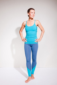 Colour Block Leggings - Deep Sea - Mandala