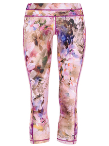 Athletic Capri - Flower Print - Mandala