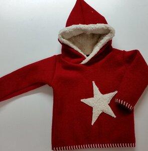 Kinder-/Baby-Kapuzenpulli aus rotem Wollwalk mit Teddystern - Omilich