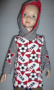 Kinder-Kapuzen-Shirt/Longsleeve Soccerstars rot aus Bio- Jersey - Omilich