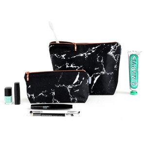 Marmor & Kupfer Kulturtasche in schwarz oder weiß - renna deluxe
